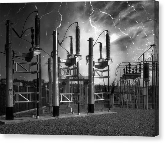 Ac Dc Canvas Print - Bridge St Power Substation 2 - Spokane Washington by Daniel Hagerman