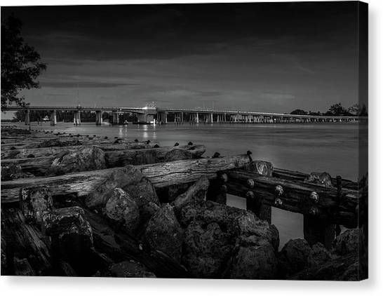 Canvas Print featuring the photograph Bridge To Longboat Key In Bw by Doug Camara