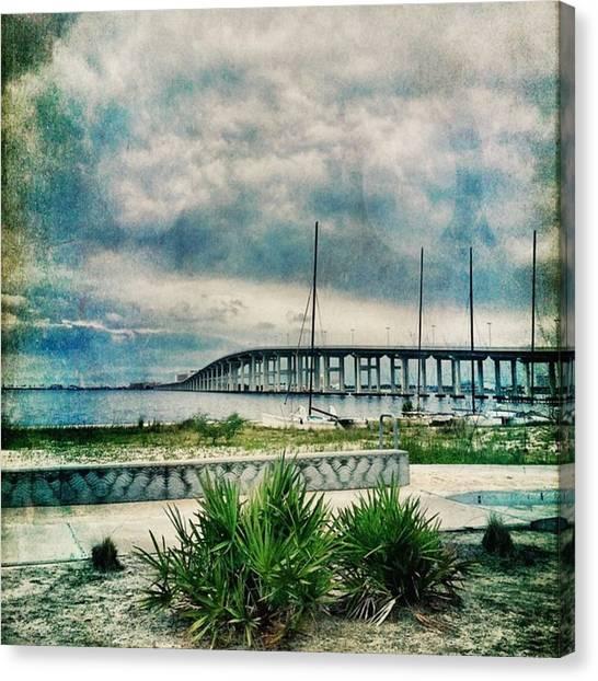 Mississippi Canvas Print - Bridge View #msgulfcoast #biloxibay by Joan McCool