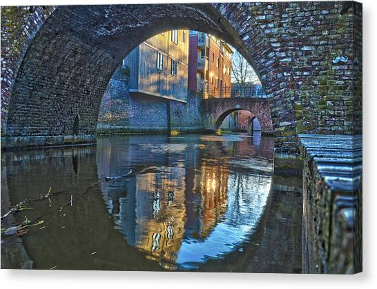 Bridges Across Binnendieze In Den Bosch Canvas Print