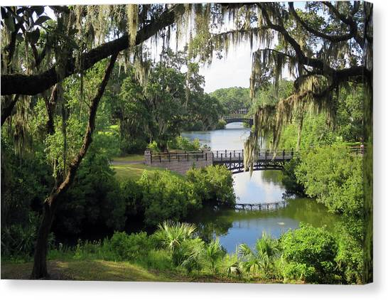 Canvas Print featuring the photograph Bridges Over Tranquil Waters by Rick Locke