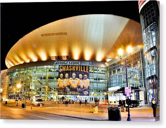 Nashville Predators Canvas Print - Bridgestone Arena by Lisa Wooten