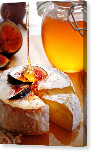 Pour Canvas Print - Brie Cheese With Figs And Honey by Johan Swanepoel