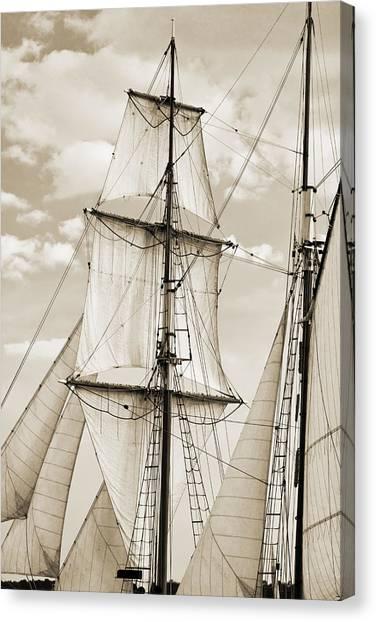 Tall Ships Canvas Print - Brigantine Tallship Fritha Sails And Rigging by Dustin K Ryan