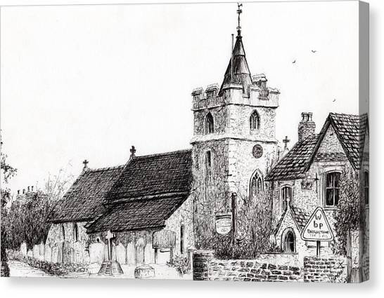 Pen And Ink Drawing Canvas Print - Brighstone Church by Vincent Alexander Booth