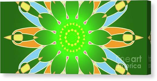 Violeta Canvas Print - Bright Abstract Mandala On Green Background by Drawspots Illustrations