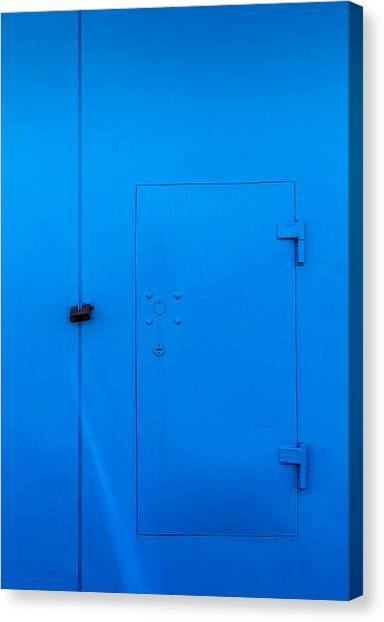 Bright Blue Locked Door And Padlock Canvas Print