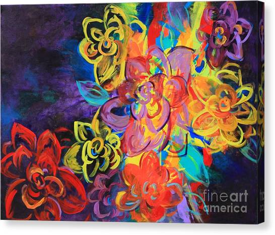 Bright Flowers Canvas Print by Sabra Chili