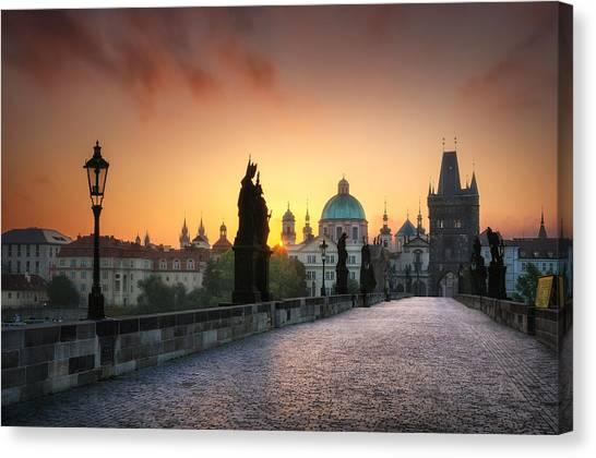 Bright Morning In Prague, Czech Republic Canvas Print