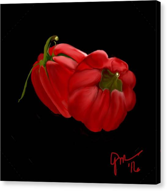 Bright Red Peppers Canvas Print