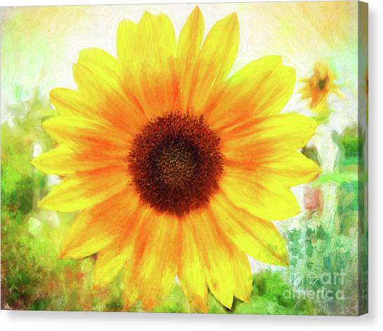 Bright Yellow Sunflower - Painted Summer Sunshine Canvas Print