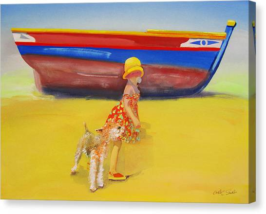 Canvas Print - Brightly Painted Wooden Boats With Terrier And Friend by Charles Stuart