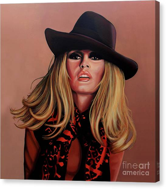 Rights Canvas Print - Brigitte Bardot Painting 1 by Paul Meijering