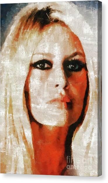 Stardom Canvas Print - Brigitte Bardot By Mary Bassett by Mary Bassett