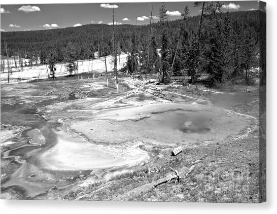 Yellowstone Caldera Canvas Print - Brilliant Colors At Firehole Spring Black And White by Adam Jewell