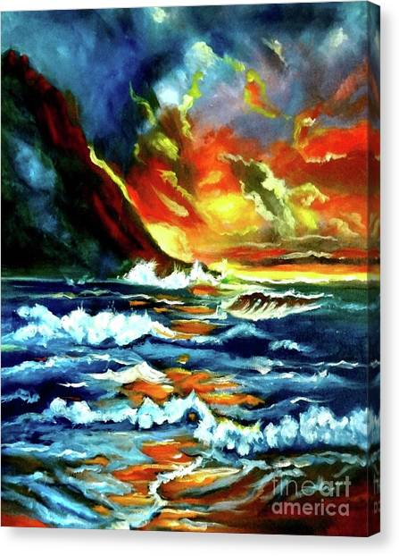 Brilliant Hawaiian Sunset Canvas Print