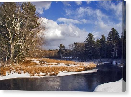 Brilliant Sky Snowy Brook Canvas Print by Frank Winters