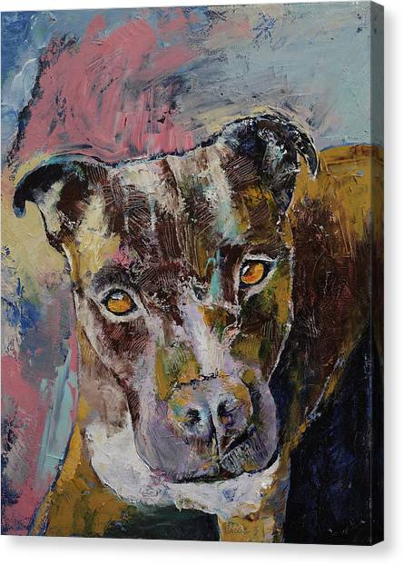 Pit Bull Canvas Print - Brindle Bully by Michael Creese