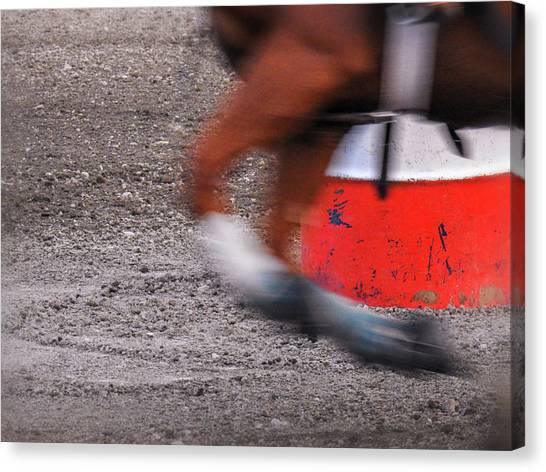 Barrel Racing Canvas Print - Bring It Home by Marnie Patchett
