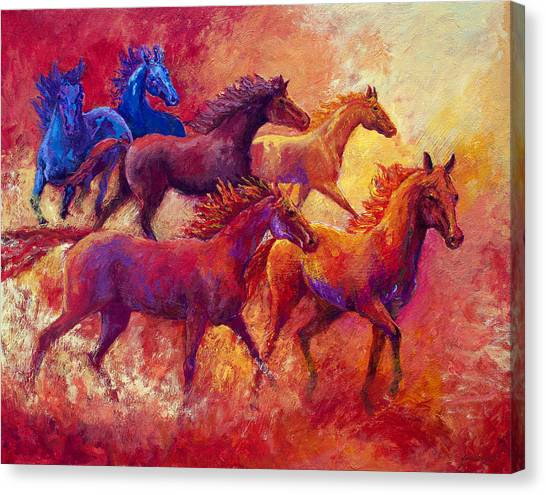 Dust Canvas Print - Bring The Mares Home by Marion Rose