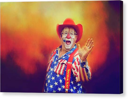 Rodeo Clown Canvas Print - Bringing Fun To The Rodeo Greek Ellick Jr.  by Toni Hopper