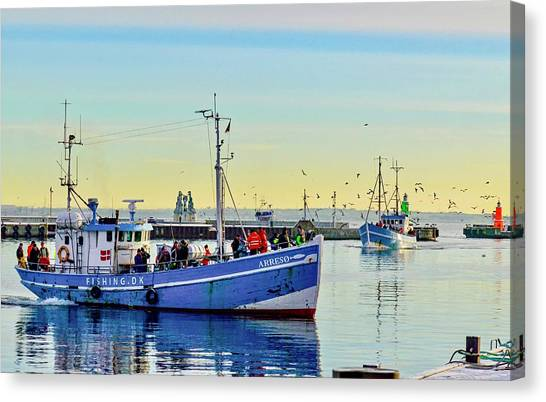 Bringing In The Day's Catch Canvas Print