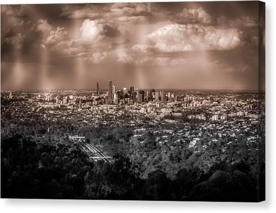 Brisbane skyline canvas print brisbane cityscape from mount cootha 4 by stanislav kaplunov