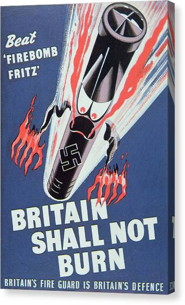 Bombs Canvas Print - Britain Shall Not Burn by English School