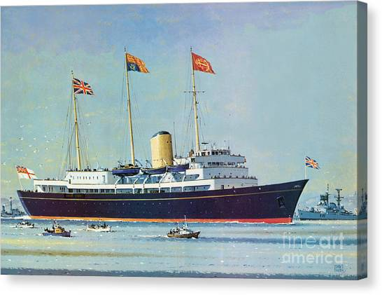 Queen Elizabeth Canvas Print - Britannia, Floating Home Of Queen Elizabeth II And Prince Philip  by John S Smith