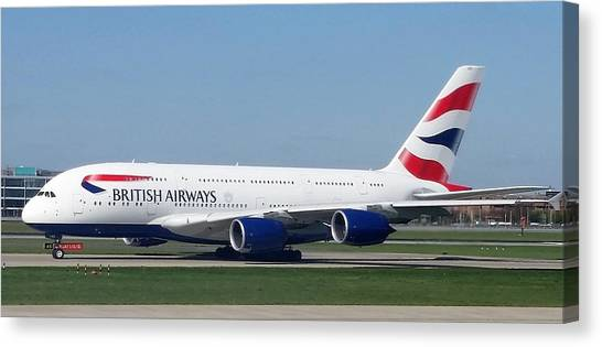 British Airways Airbus A380 Canvas Print