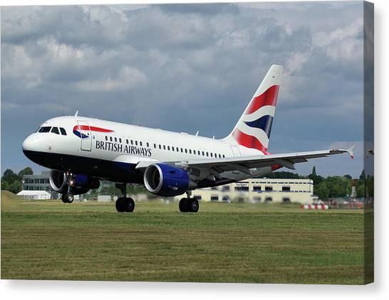 British Airways A318-112 G-eunb Canvas Print