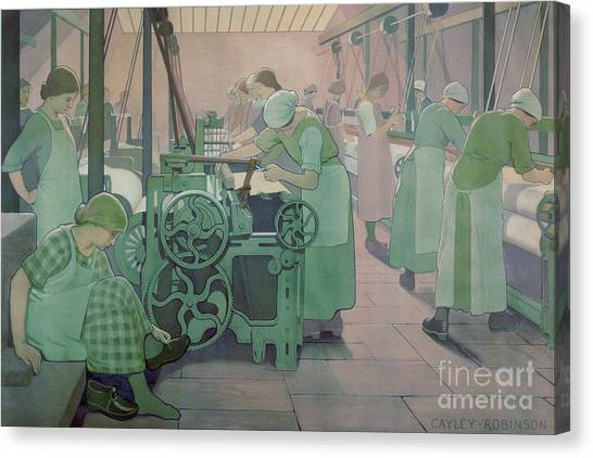 Protective Clothing Canvas Print - British Industries - Cotton by Frederick Cayley Robinson