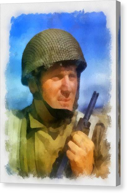Paratroopers Canvas Print - British Paratrooper October 1942 by Esoterica Art Agency