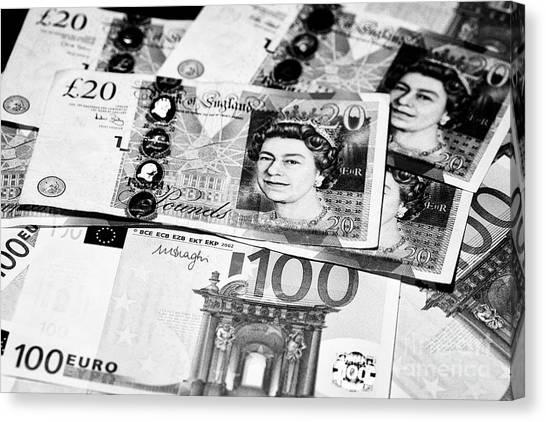 Brexit Canvas Print - British Pounds And Euros Cash by Joe Fox