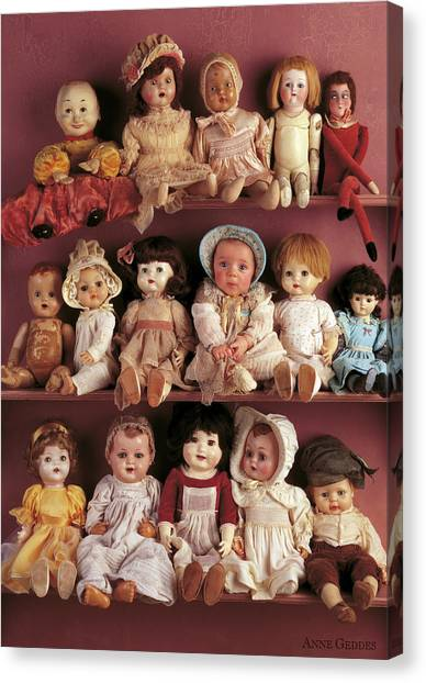Canvas Print - Brittany And Antique Dolls by Anne Geddes