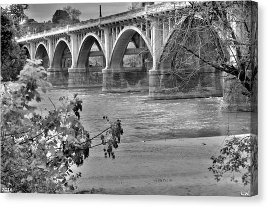 Gervais Street Bridge Black And White Canvas Print