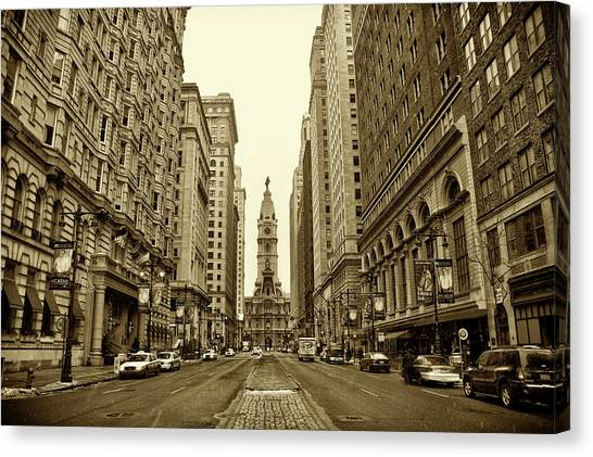 Broad Street Facing Philadelphia City Hall In Sepia Canvas Print