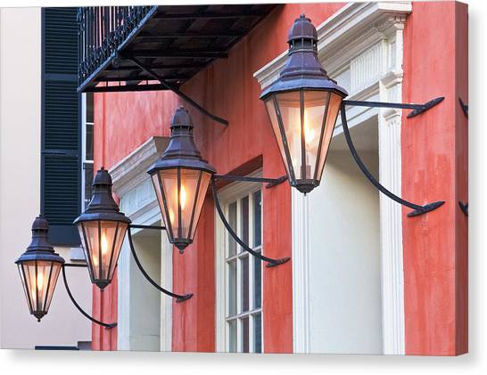Street Lights Canvas Print - Broad Street Lantern - Charleston Sc  by Drew Castelhano