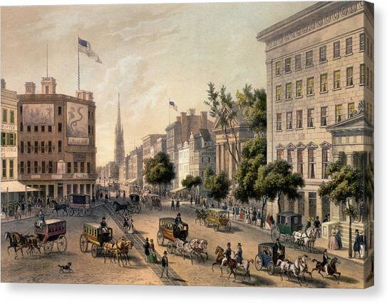 Carriage Canvas Print - Broadway In The Nineteenth Century by Augustus Kollner