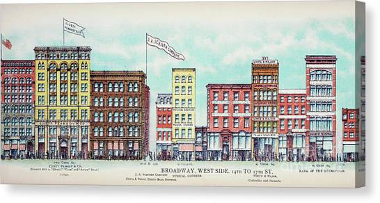 Old Canvas Print - Broadway West Side by Delphimages Photo Creations