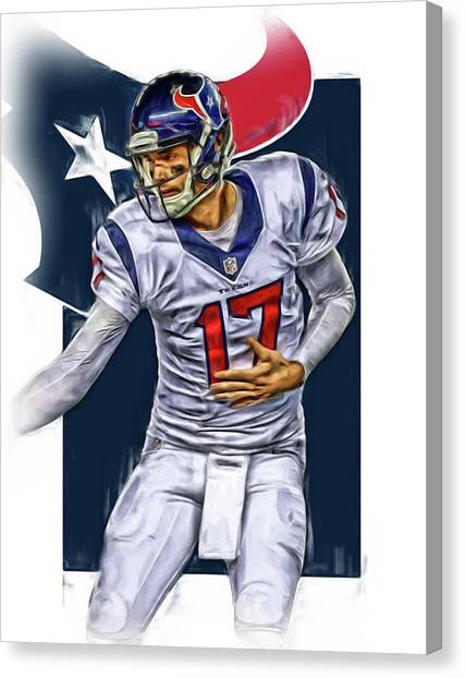 Houston Texans Canvas Print - Brock Osweiler Houston Texans Oil Art by Joe Hamilton