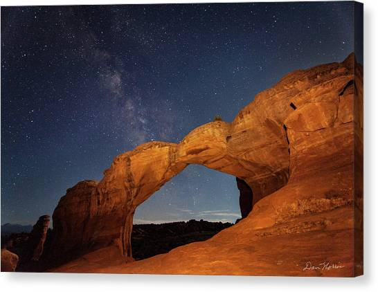 Broken Arch And Milky Way Canvas Print