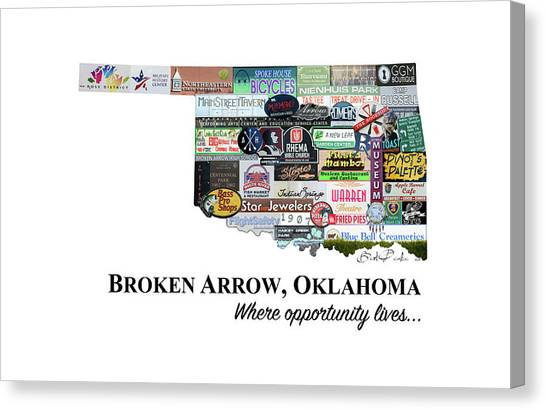 Northeastern University Canvas Print - Broken Arrow Oklahoma Photomontage by Roberta Peake