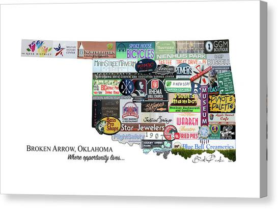 Northeastern University Canvas Print - Broken Arrow Photo Montage  by Roberta Peake
