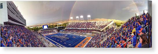 Bronco Stadium Panoramic Canvas Print by Lost River Photography