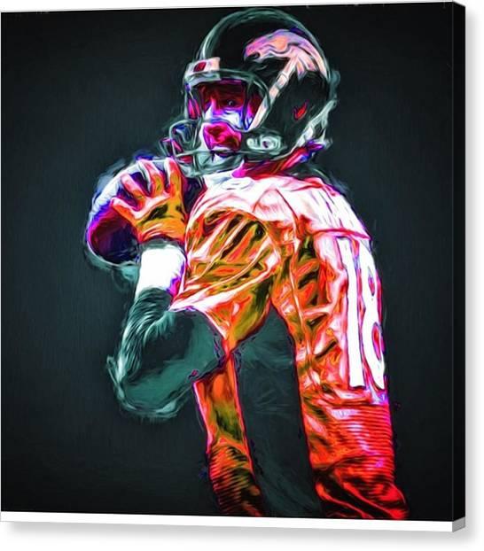 Football Canvas Print - @broncos #broncos @denver #denver by David Haskett II