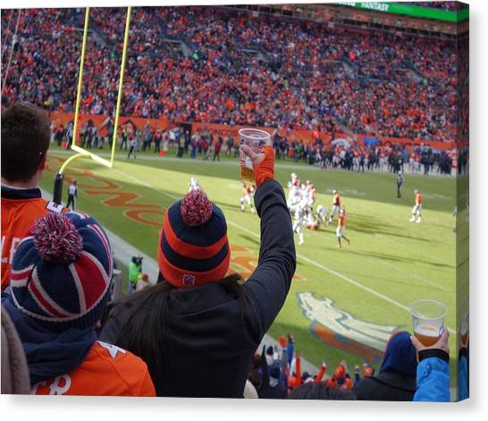 Football Teams Canvas Print - Broncos Fan by Tarasa Harlow