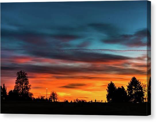 Broncos Sunset In Denver Canvas Print