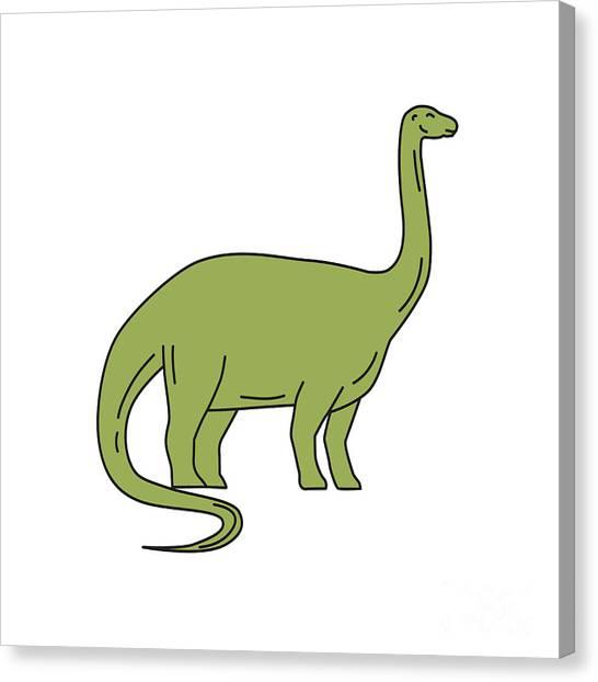 Brontosaurus Canvas Print - Brontosaurus Mono Line by Aloysius Patrimonio