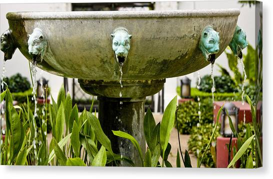 J Paul Getty Canvas Print - Bronze Civit Head Fountain by Teresa Mucha